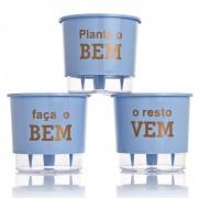 Kit 3 Vasos Autoirrigáveis Plante o Bem Azul Serenity MÉDIO