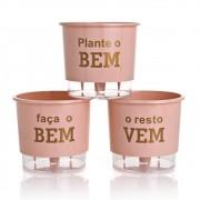 Kit 3 Vasos Autoirrigáveis Plante o Bem Rosa Quartz MÉDIO