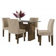 Mesa de Jantar com 4 Cadeiras Europa Amadeirado com Suede Bege - RV Moveis