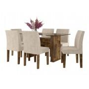 Mesa de Jantar com 6 Cadeiras Europa Amadeirado com Suede Bege - RV Moveis