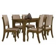 Mesa de Jantar com 6 Cadeiras Onix Amadeirado com Suede Bege - RV Moveis