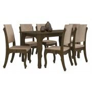 Mesa de Jantar com 6 Cadeiras Onix Imbuia com Suede Bege - RV Moveis