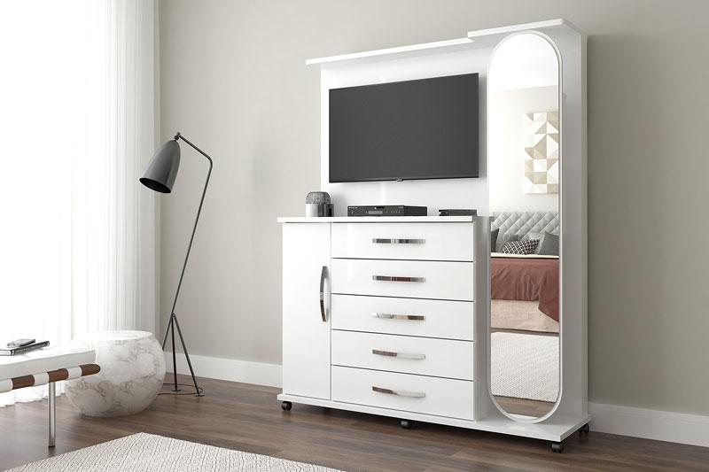 Comoda com Painel para TV Branco Carina - Lukaliam Moveis