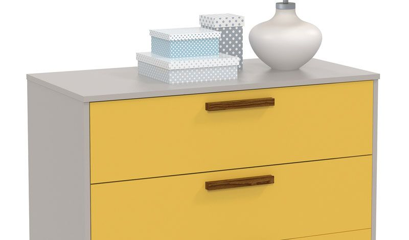 Comoda Nature Glass Cinza com Amarelo e Eco Wood - Matic Moveis