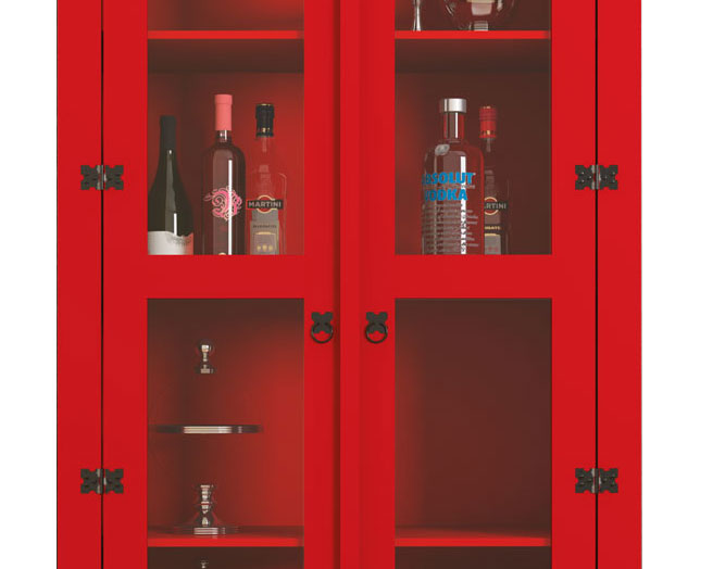 Cristaleira New York Vermelho - RV Moveis