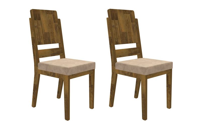 Jogo 2 Cadeiras Esmeralda Amadeirado com Suede Bege - RV Moveis