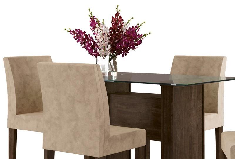Mesa de Jantar com 4 Cadeiras Europa Noce com Suede Bege - RV Moveis