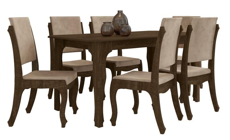 Mesa de Jantar com 6 Cadeiras Onix Noce com Suede Bege - RV Moveis