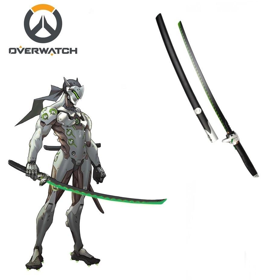 Espada Genji Katana: Overwatch Preta e Prata Espada 105cm