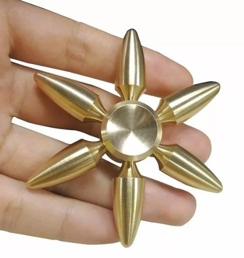 Hand Spinner Metal Bala Fuzil Dourado 6 pontos - Rolamento Anti Estresse Fidget Hand Spinner