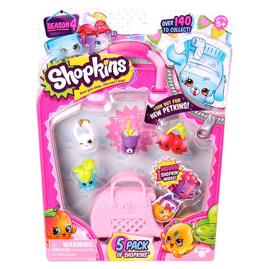 Kit com 5 Shopkins Sortidos Series 4 - DTC