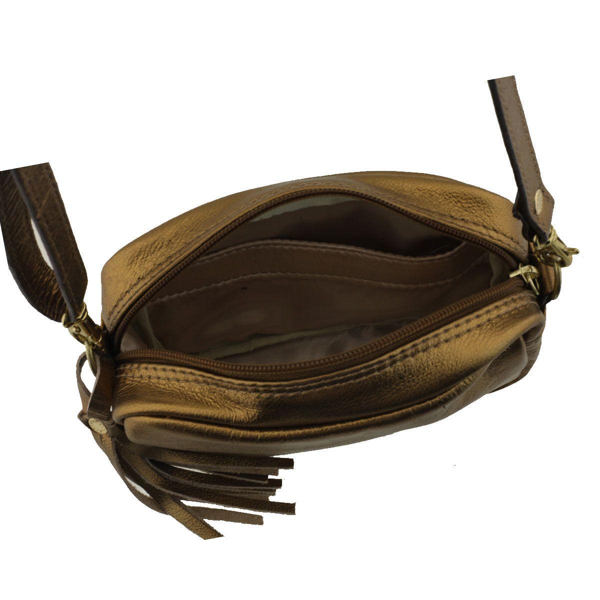 Bolsa em Couro Tiracolo Bronze