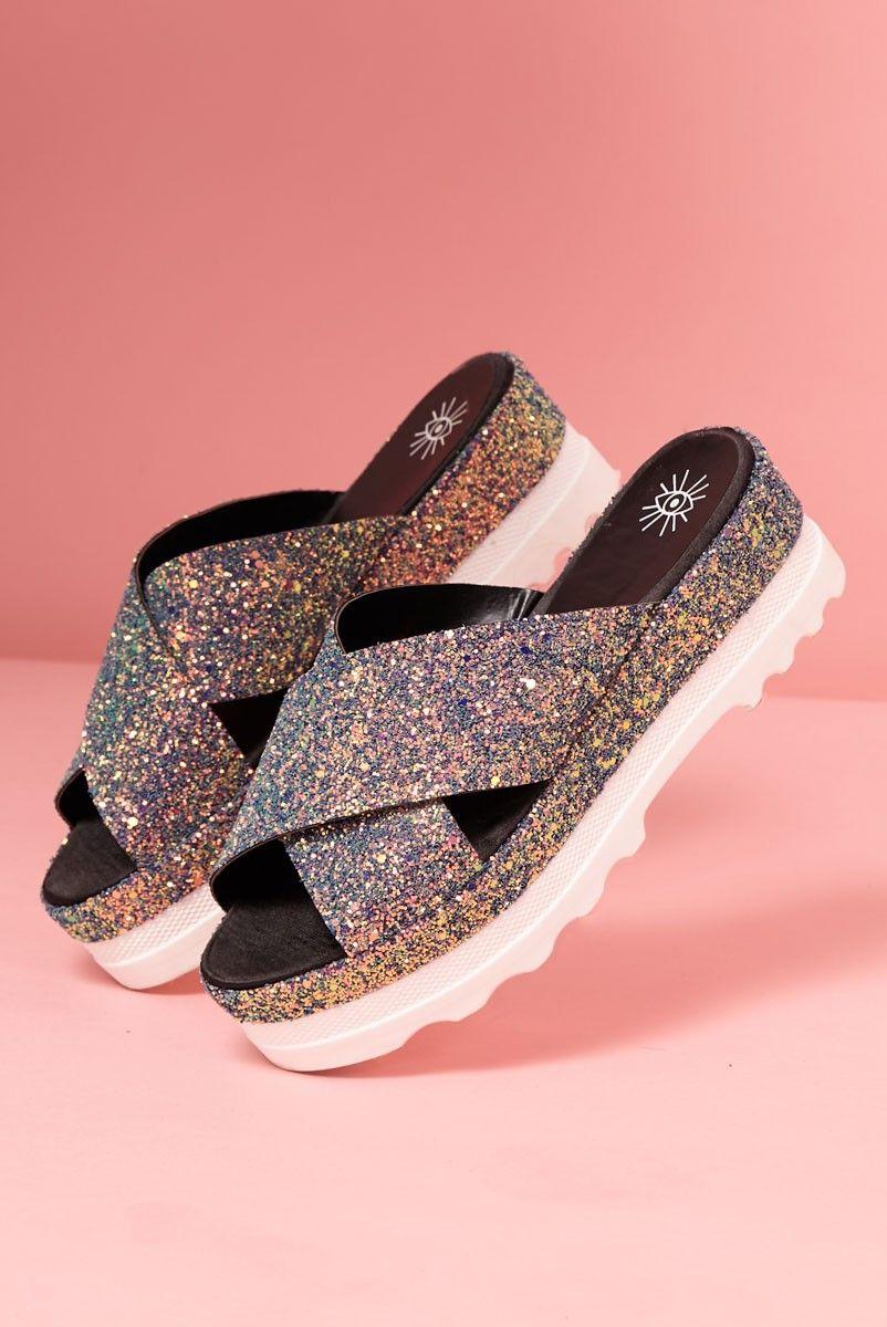 Sandália Flatform Glitter Holográfico Sereia