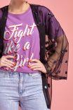 "T-shirt Orquídea ""Fight Like a Girl"