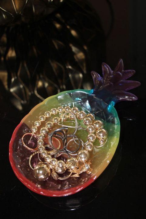 Adorno Decorativo Porta-Jóia Abacaxi Rainbow