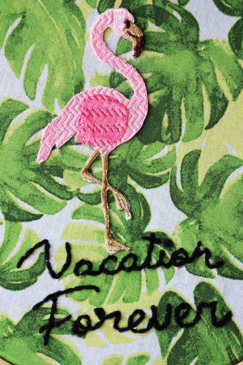 Bordado Decor Flamingo Vacation Forever