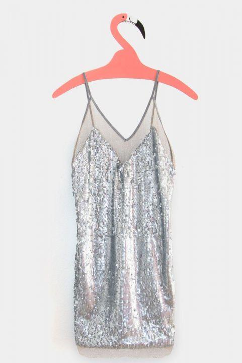Vestido Paetê Prata + Tule Poá