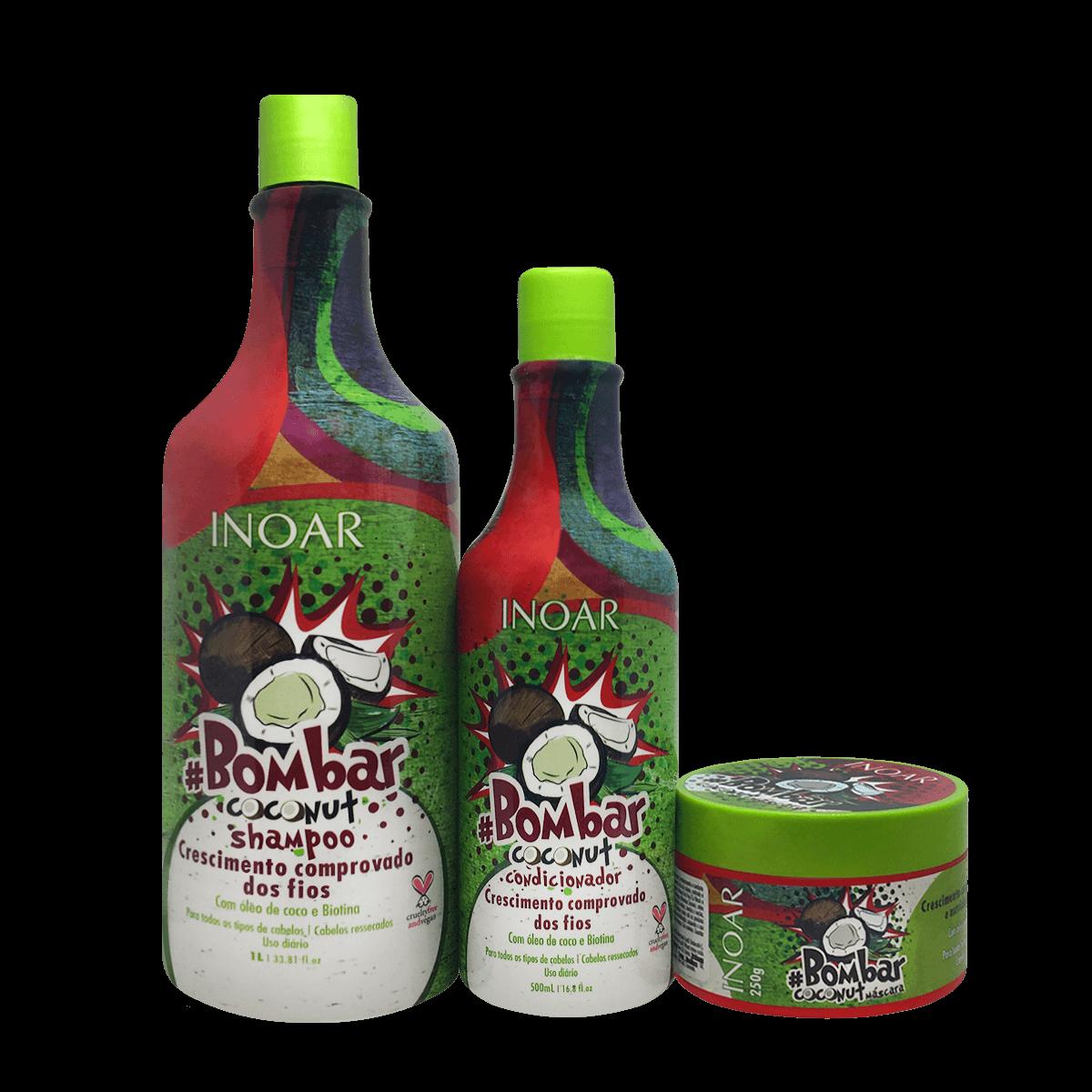 Inoar Kit Bombar Coconut - Shampoo, Condicionador e Mascara