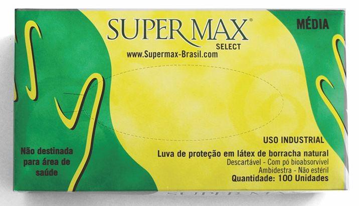LUVA EM LATEX LUVA DE SEGURANÇA CONTRA AGENTES QUÍMICOS - PACOTE COM 100 UNIDADES SUPERMAX