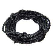 3 metros Fio de couro trançado ecológico 3mm preto FICOU-09