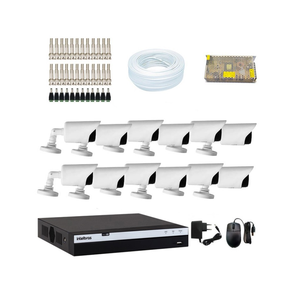 KIT DVR Intelbras MHDX Full HD + 12 Câmeras Infra Full HD 1080p + Acessórios  - Ziko Shop