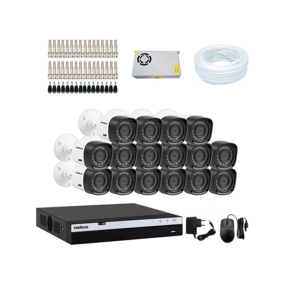 KIT DVR Intelbras Full HD 1080p MHDX + 16 Câmeras VHD 1220 B Full HD + Acessórios  - Ziko Shop