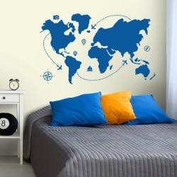 Adesivo de Parede Mapa Travel