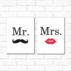 Placa Decorativa Kit Mr. Mrs.