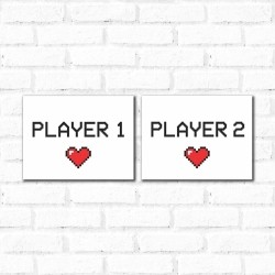 Placa Decorativa Kit Player 1 Player 2