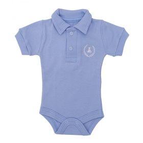 Body bebê gola polo manga curta - Azul