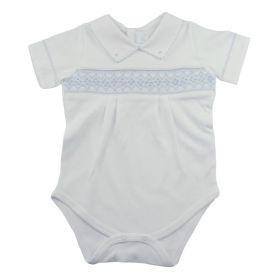 Body bebê manga curta  - Branco e azul bebê