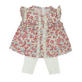 Conjunto bebê com bata e calça - Marfim e floral
