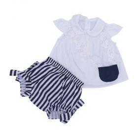 Conjunto bebê com bata e calcinha - Azul marinho e branco
