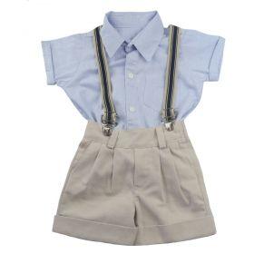 Conjunto bebê com bermuda, camisa e suspensório - Azul e bege