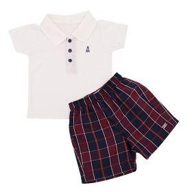 Conjunto bebê com camiseta polo e bermuda - Vermelho