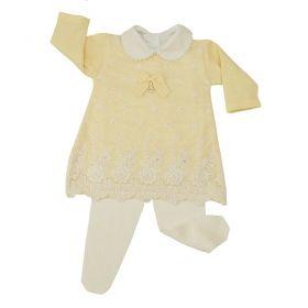 Conjunto bebê com 4 peças - Amarelo e branco