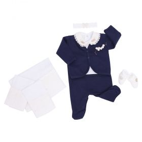 Conjunto bebê feminino 9 peças - Azul marinho