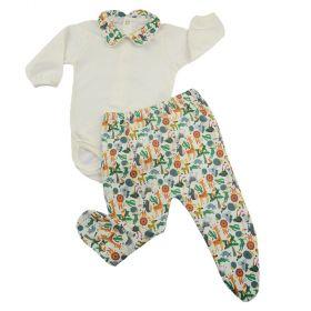 Conjunto bebê com body e calça - Marfim