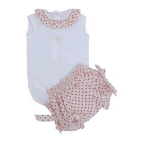 Conjunto bebê com body e calcinha - Marfim