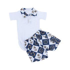 Conjunto bebê com body e short - Branco e azul marinho