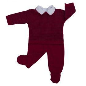 Conjunto bebê trançado com 2 peças - Vermelho