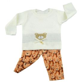Conjunto bebê com blusa de tricot e calça - Marfim