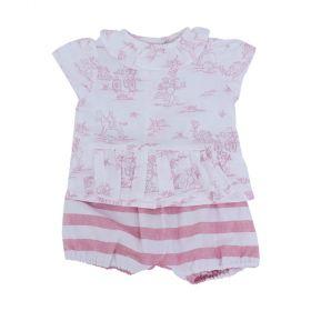 Conjunto bebê com bata e short - Branco e rosa