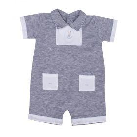 Macacão bebê curto - Branco e cinza