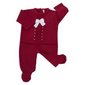 Macacão bebê leque com cristais swarovski - Vermelho