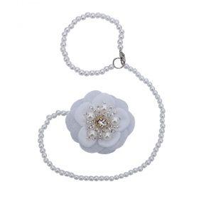 Prendedor de chupeta flor - Branco