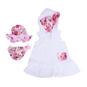 Roupão bebê com moda praia 3 peças - Branco e rosa