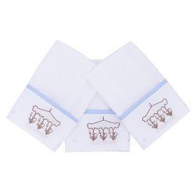 Toalha de boca kit com 3 peças - Branco e azul