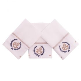 Toalha de boca kit com 3 peças - Branco e azul marinho