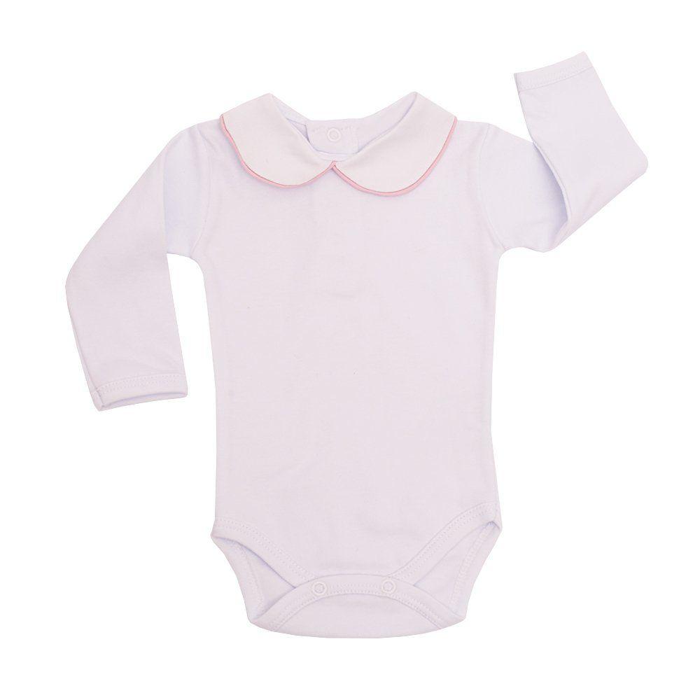 Body bebê - Branco e rosa